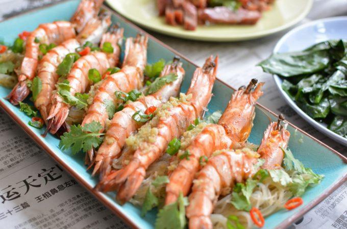 Recept gestoomde garnalen met knoflook