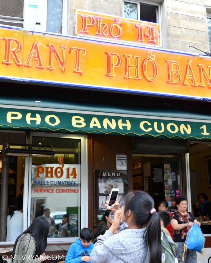 Foto voorkant van Vietnamees restaurant Pho 14 in Parijs. © MEVRYAN.COM